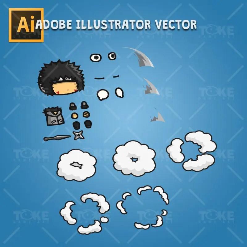 Gray Shirt Shinobi Guy - Adobe Illustrator Vector Art Based Character