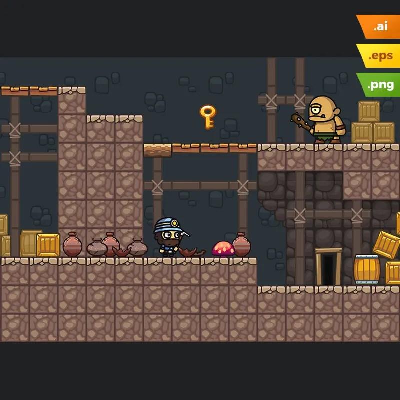 Mine Platformer Tileset - 2D Game Art