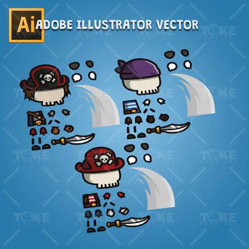 Pirate Skeleton - Adobe Illustrator Vector Art Based Character