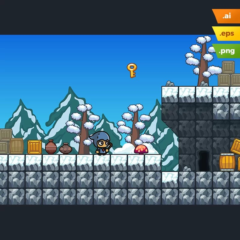 Snow Platformer Tileset - Android and IOS Games
