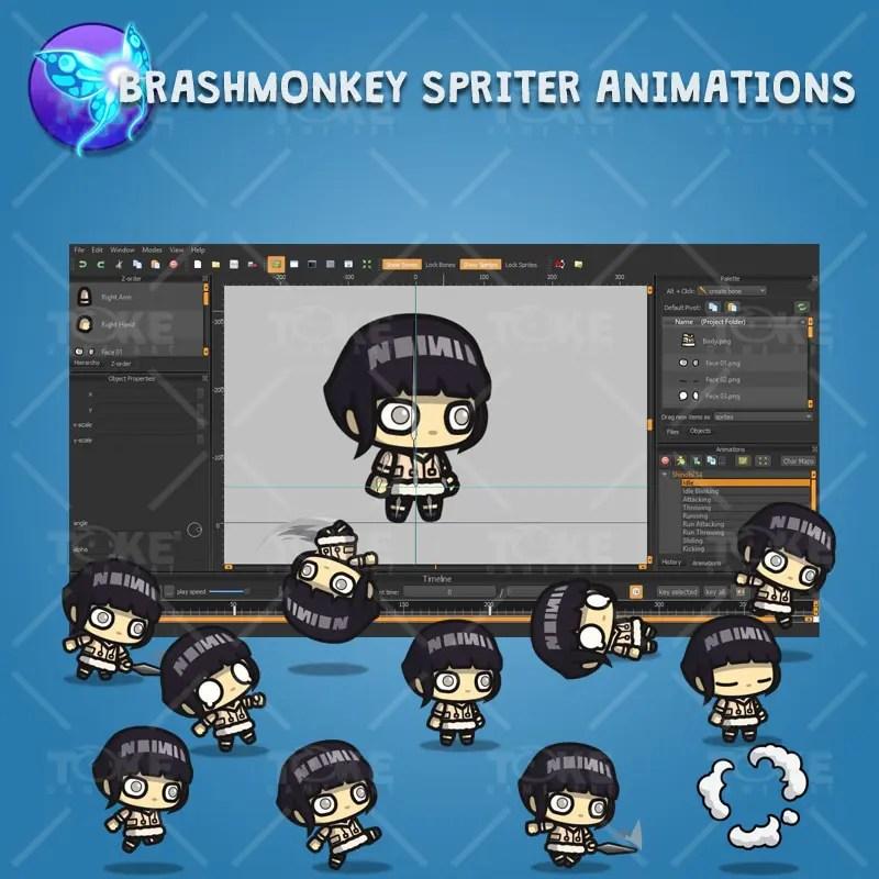 White Pupil Shinobi Girl - Brashmonkey Spriter Character Animation