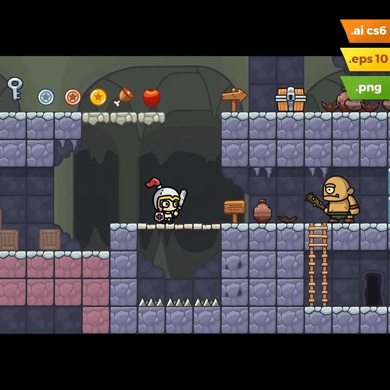 Cave Platformer Tileset - 2D Side Scrolling Game