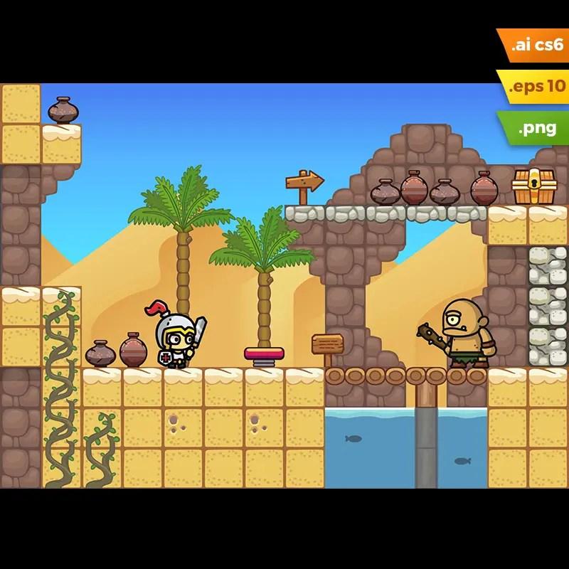 Desert Platformer Tileset - 2D Side Scrolling Adventure Games