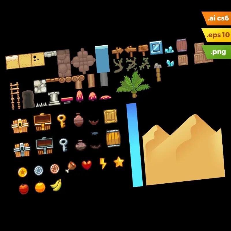Desert Platformer Tileset - Adobe Illustrator Vector Art Based Game Level Set