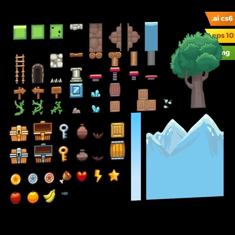 Grassy Hills Platformer Tileset - Adobe Illustrator Vector Art Based Game Level Set