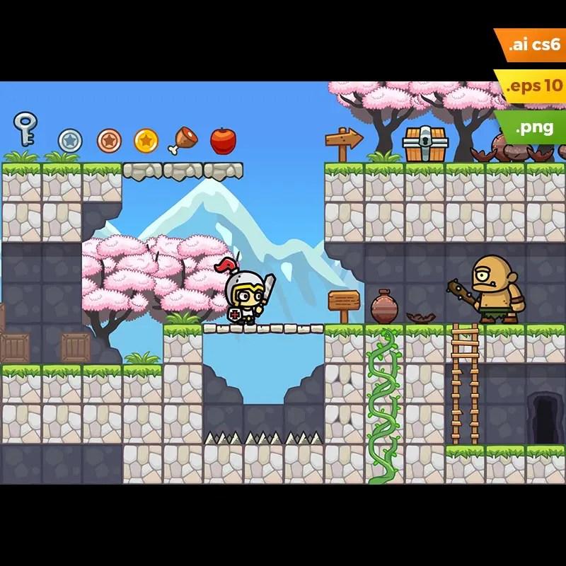 Sakura Garden Platformer Tileset - 2D Side Scrolling Game