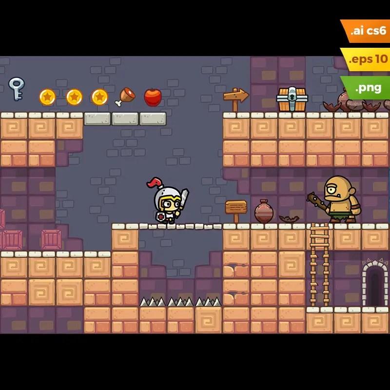 Temple Platformer Tileset - 2D Side Scrolling Game Level Set