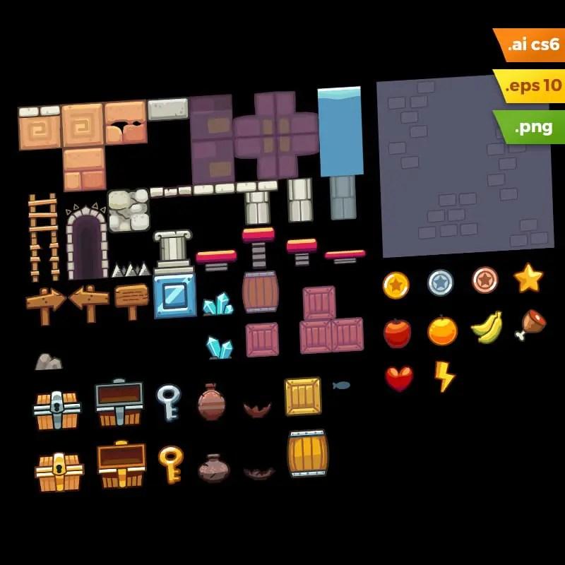 Temple Platformer Tileset - Adobe Illustrator Vector Art Based Level Set