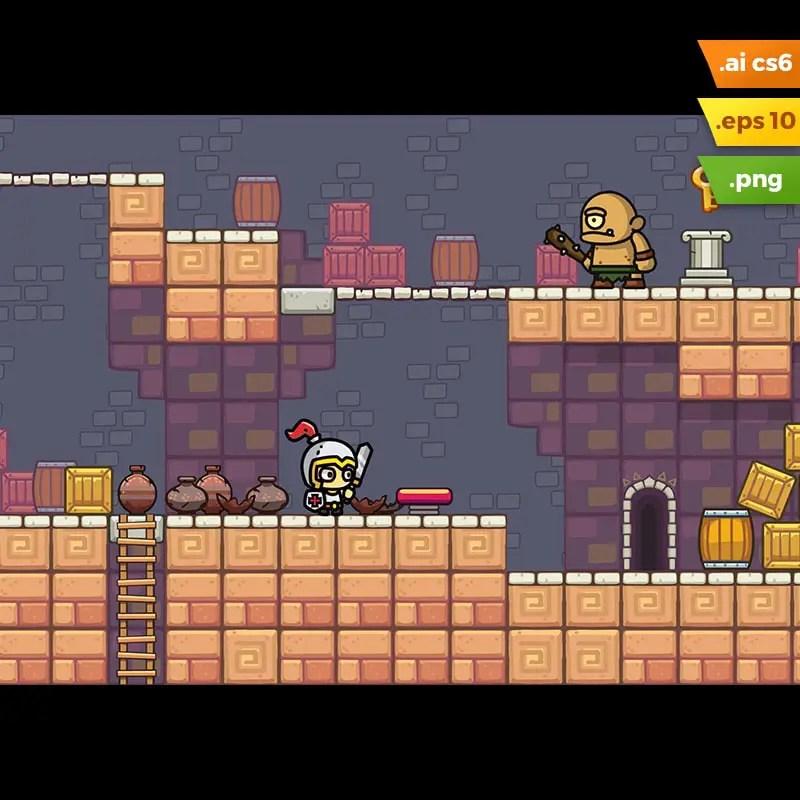 Temple Platformer Tileset - Game Asset for Indie Game Developer