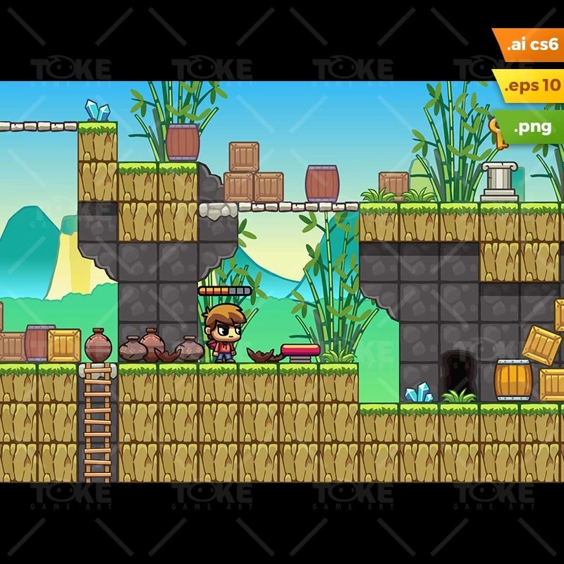 Bamboo Mountain Platformer Tileset - 2D Game Preview