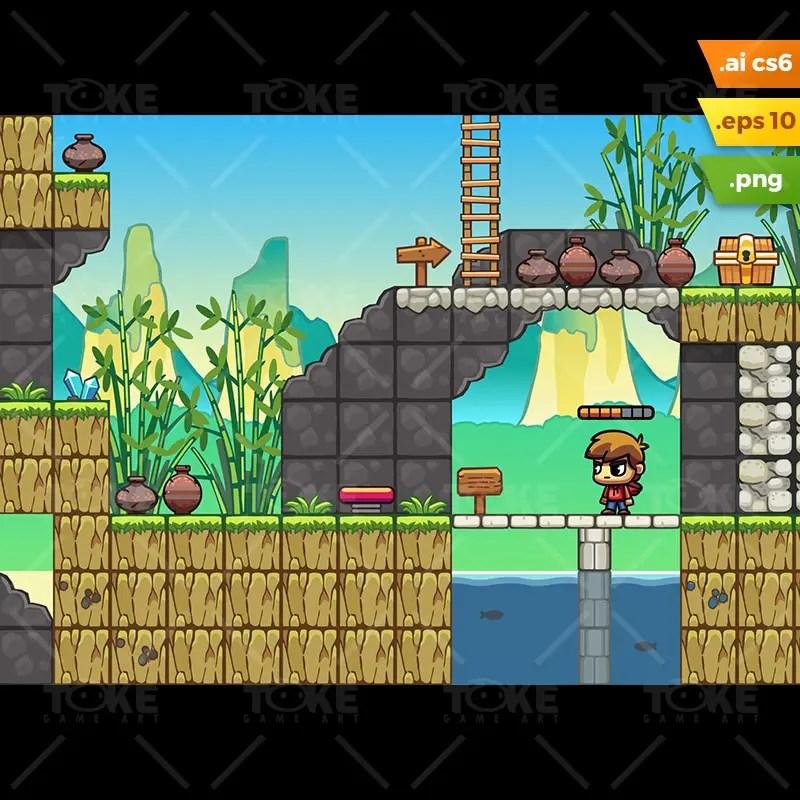 Bamboo Mountain Platformer Tileset - Royalty Free Game Asset