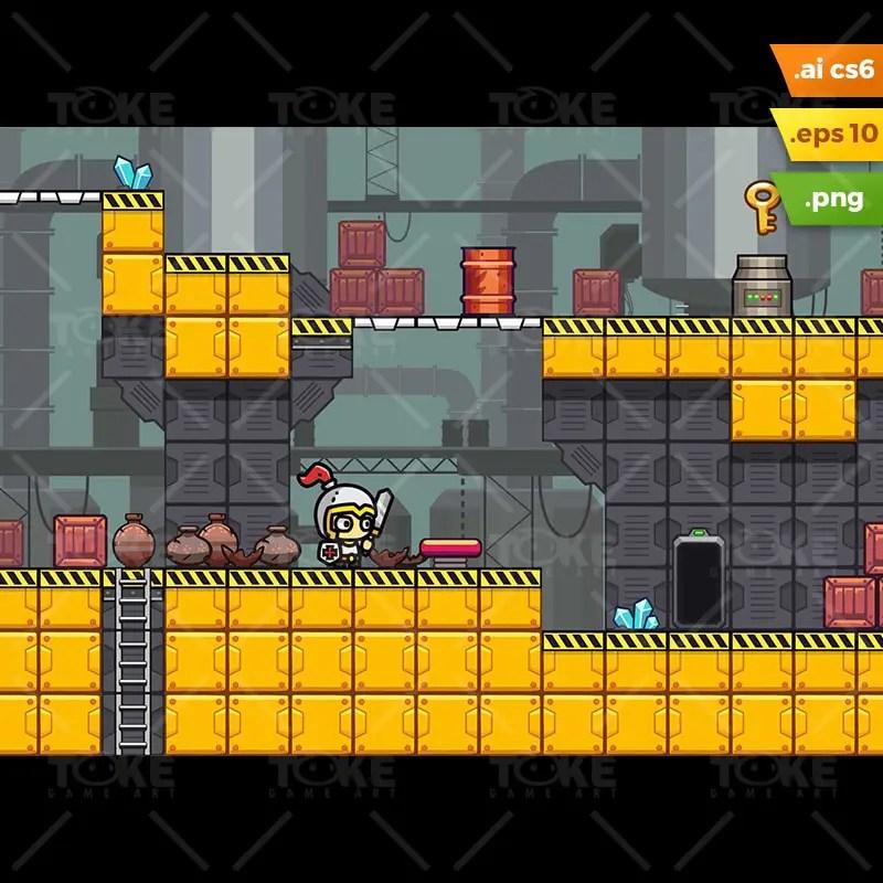 Factory Platformer Tileset - Side Scrolling Game