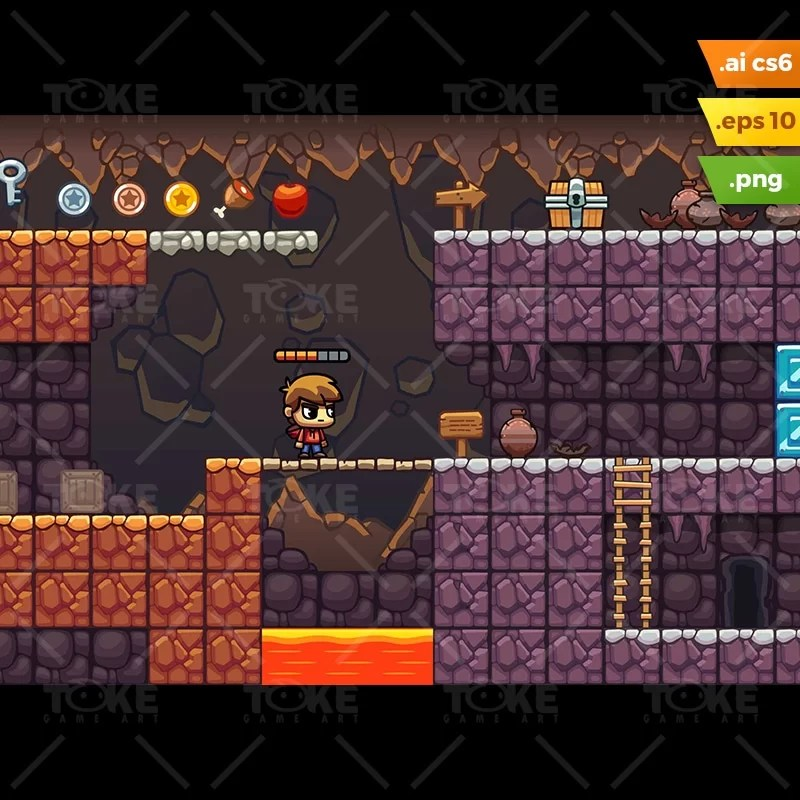 Lava Cave Platformer Tileset - Run Endless Game Level Set