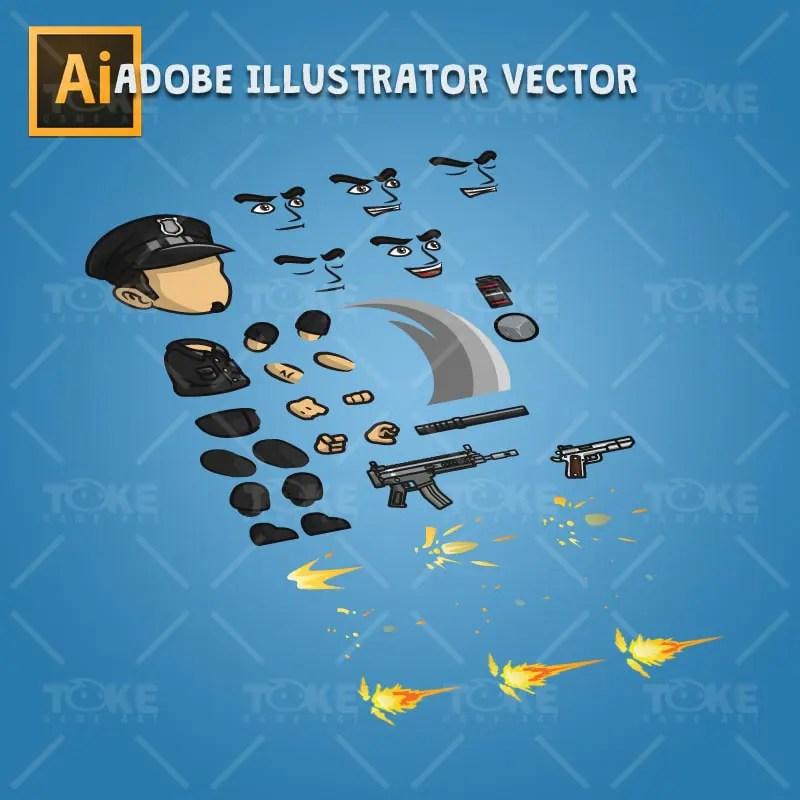 Policeman - Robert - Adobe Illustrator Vector Art Based Character Part