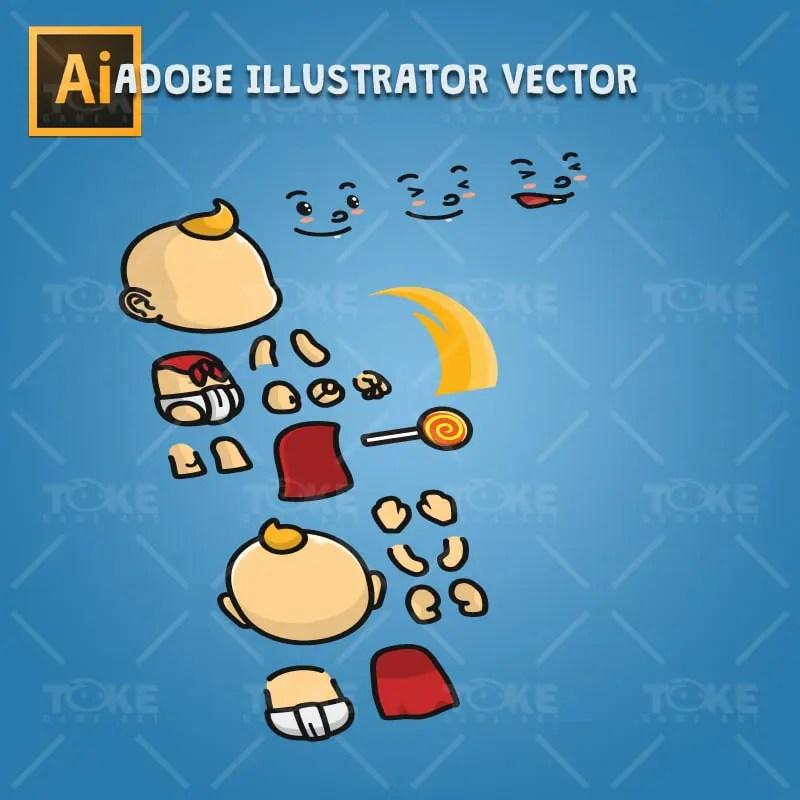 Super Baby - Adobe Illustrator Vector Art Based Character