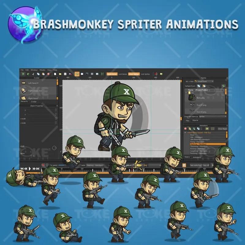 Urban Army Squad - Hat Guy - Brashmonkey Spriter Character Animation