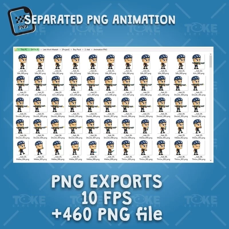 Aex - Boy 2D Game Character Sprite - PNG Sequences Animation