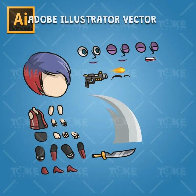 Punk Girl - Adobe Illustrator Vector Art Based Character
