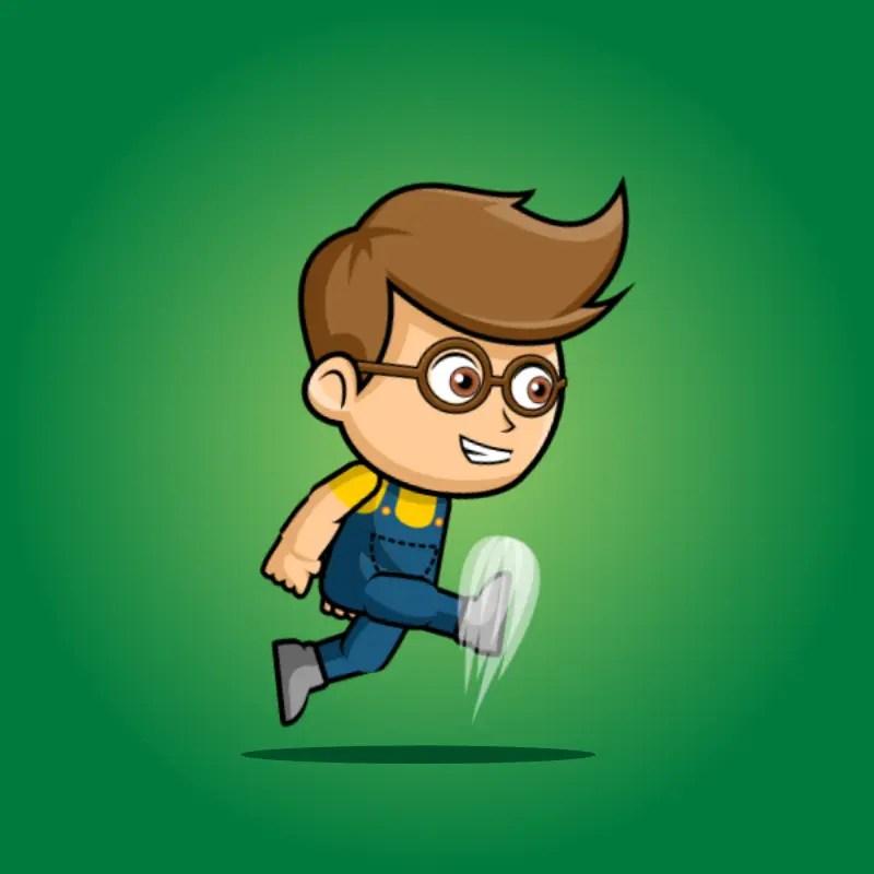 Geek Boy 2D Game Character Sprite