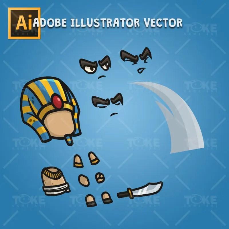 Egyptian Sentry - Adobe Illustrator Vector Art Based Character Body Parts