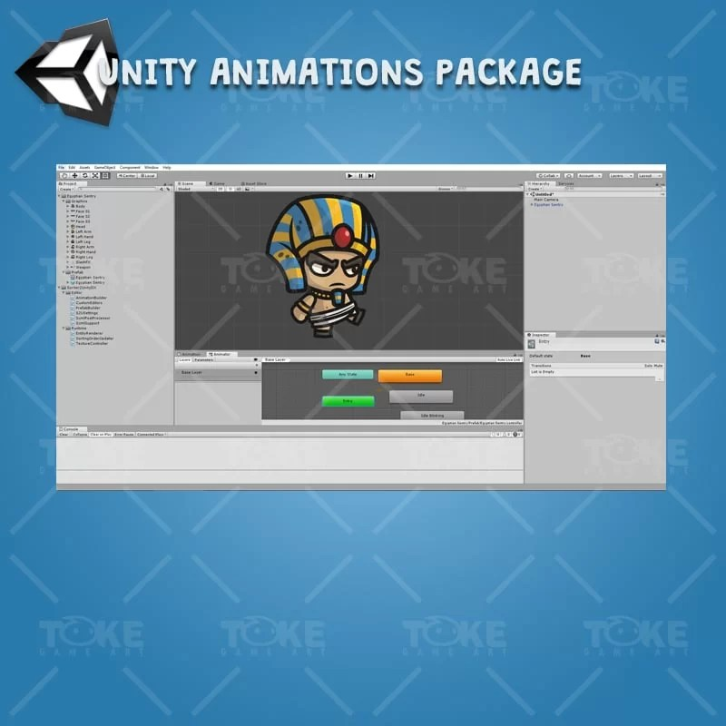 Egyptian Sentry - Unity Character Animation with Spriter2UnityDX Tool