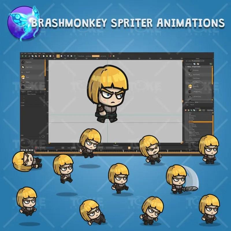 Medieval Warrior Girl - Brashmonkey Spriter Character Animations