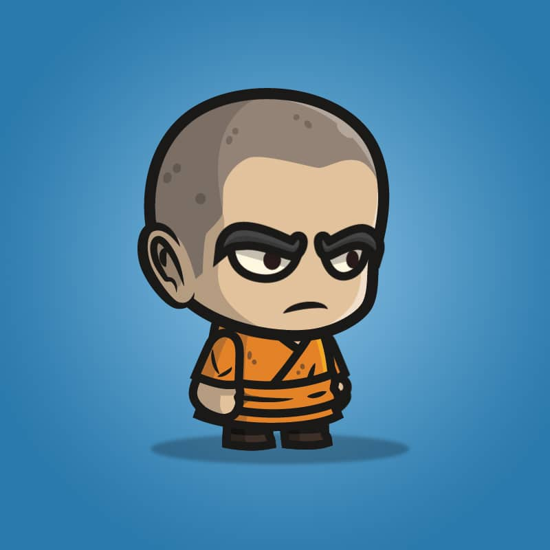 Monk Guy - 2D Character Sprite for Indie Game Developer