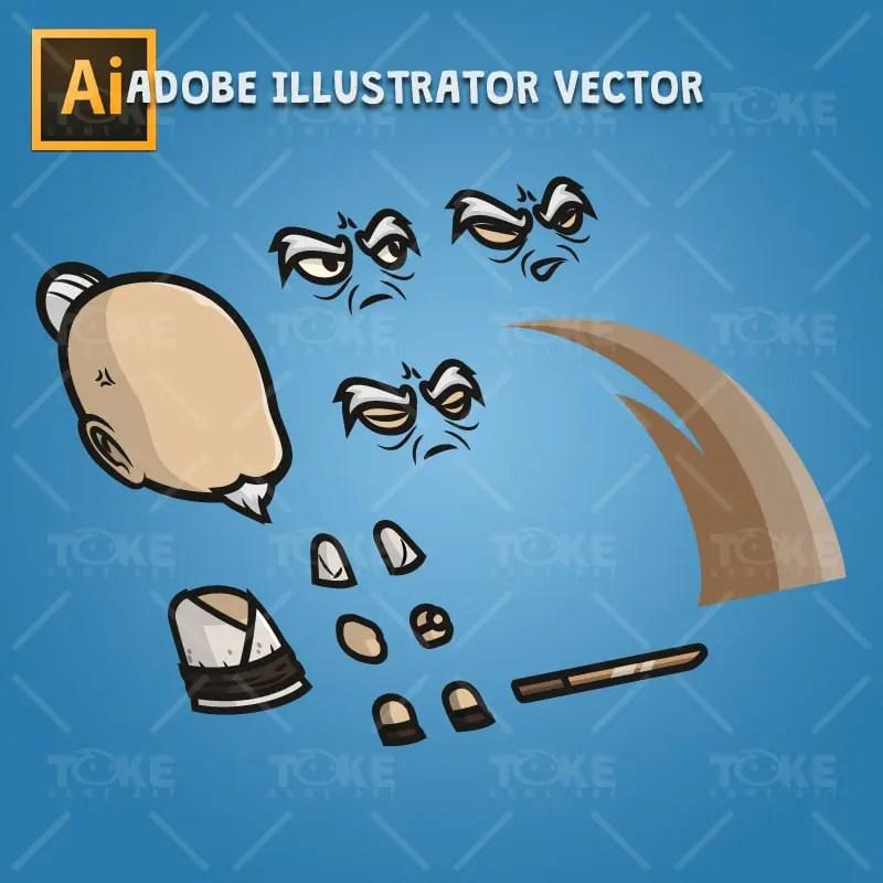 Old Guy - Adobe Illustrator Vector Art Based Character Body Part