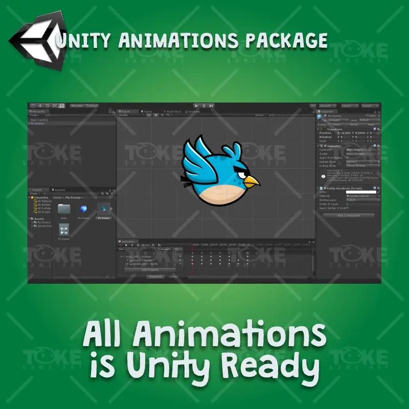 Blue enemy bird - Unity Character Animation Ready