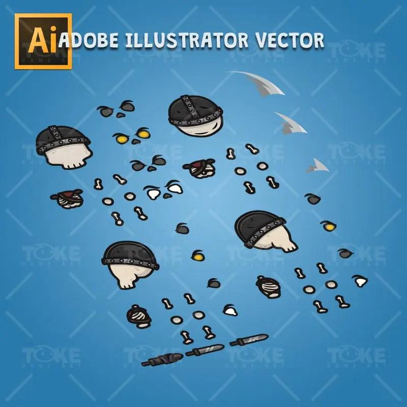 4 Directional Skeleton Warrior - Adobe Illustrator Vector Art Based Character Body Parts