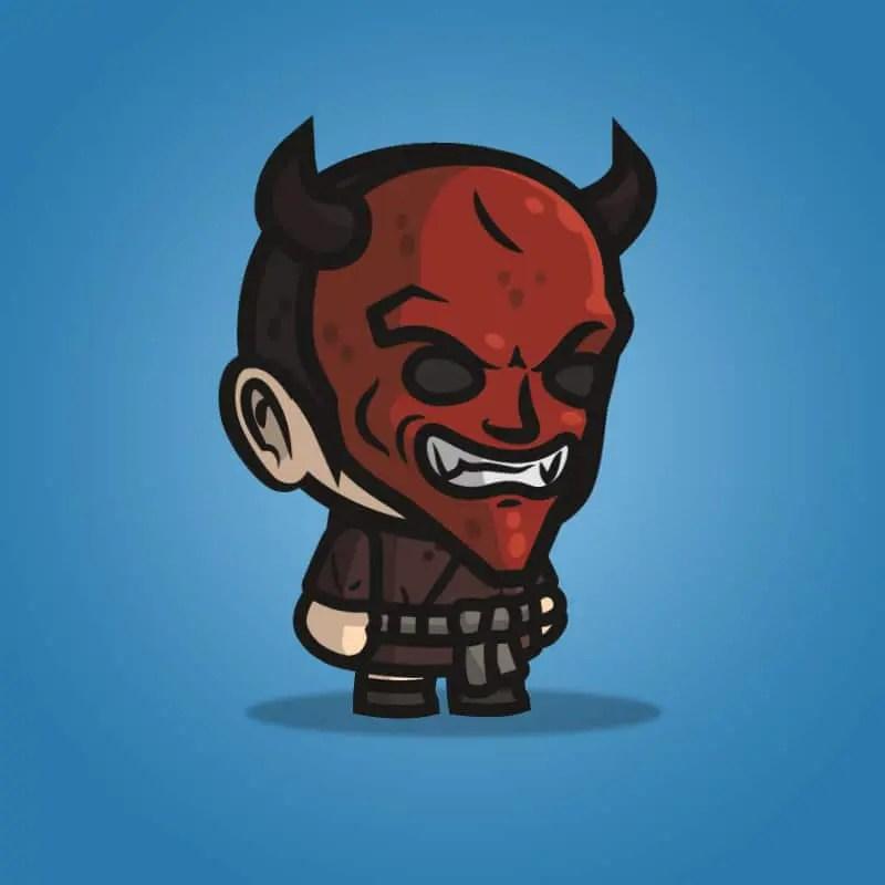 Devil Masked Guy - 2D Character Sprite for Indie Game Developer