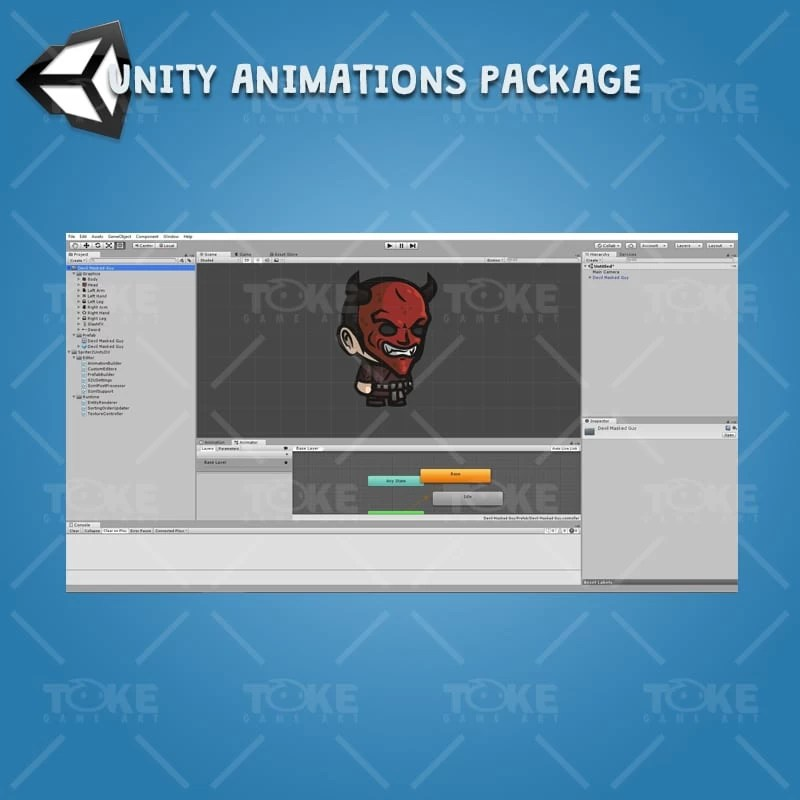 Devil Masked Guy - Unity Character Animation Ready with Spriter2UnityDX Tool