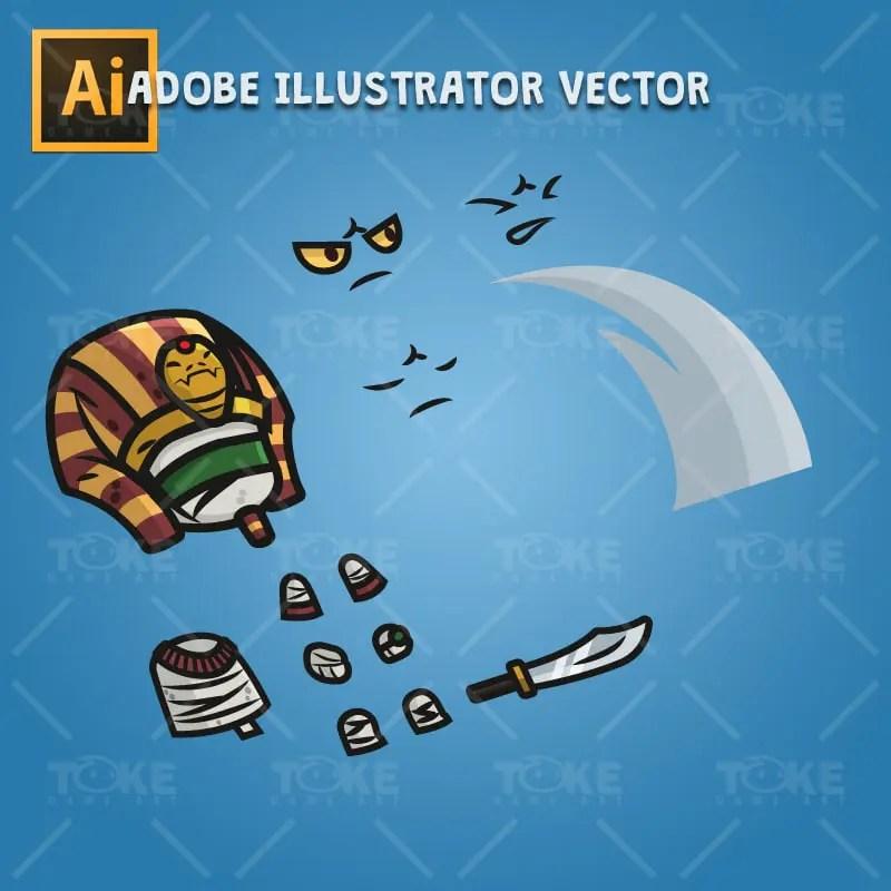 Egyptian Mummy - Adobe Illustrator Vector Art Based Chracter Body Parts