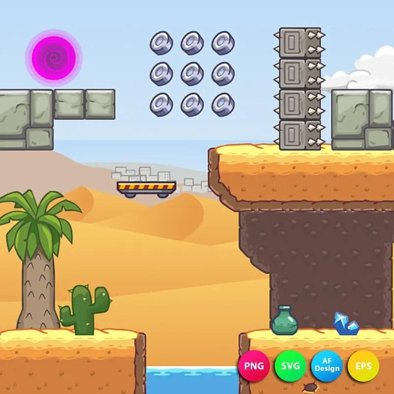 2D Seamless Desert Area - 2D Game Tileset