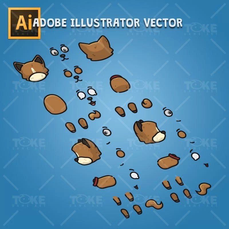 4 Directional Brown Dog - Adobe Illustrator Vector Art Based Character Body Parts
