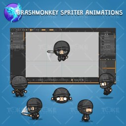 4 Directional Ninja - Brashmonkey Spriter Character Animations