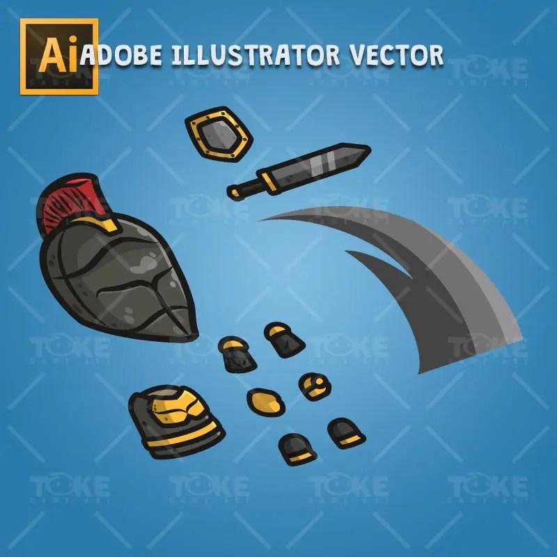 Frontier Defender Spartan Knight - Adobe Illustrator Vector Art Based Character Bosy Parts