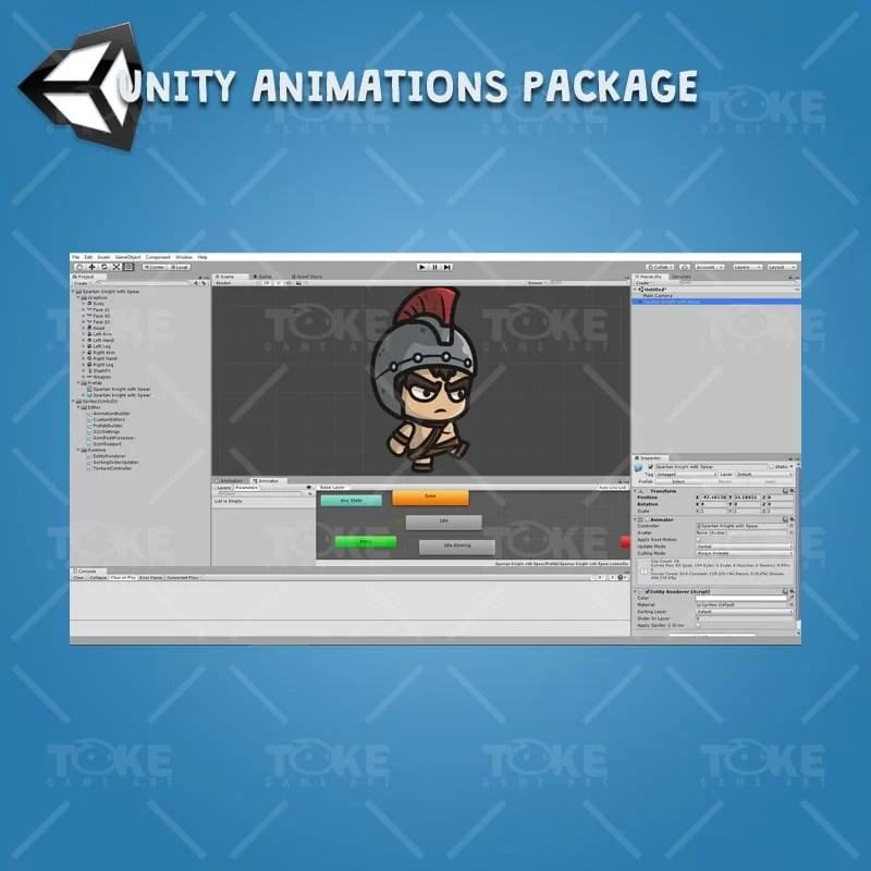 Spartan Knight with Spear - Unity Character Animation Ready with Spriter2UnityDX Tool