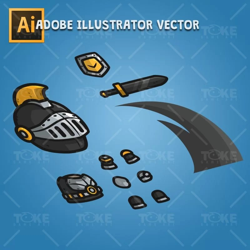 Very Heavy Armored Frontier Defender - Adobe Illustrator Vector Art Based Character Body Parts