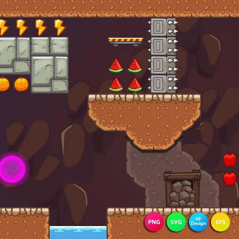 2D Seamless Mine Area - 2D Game Tileset