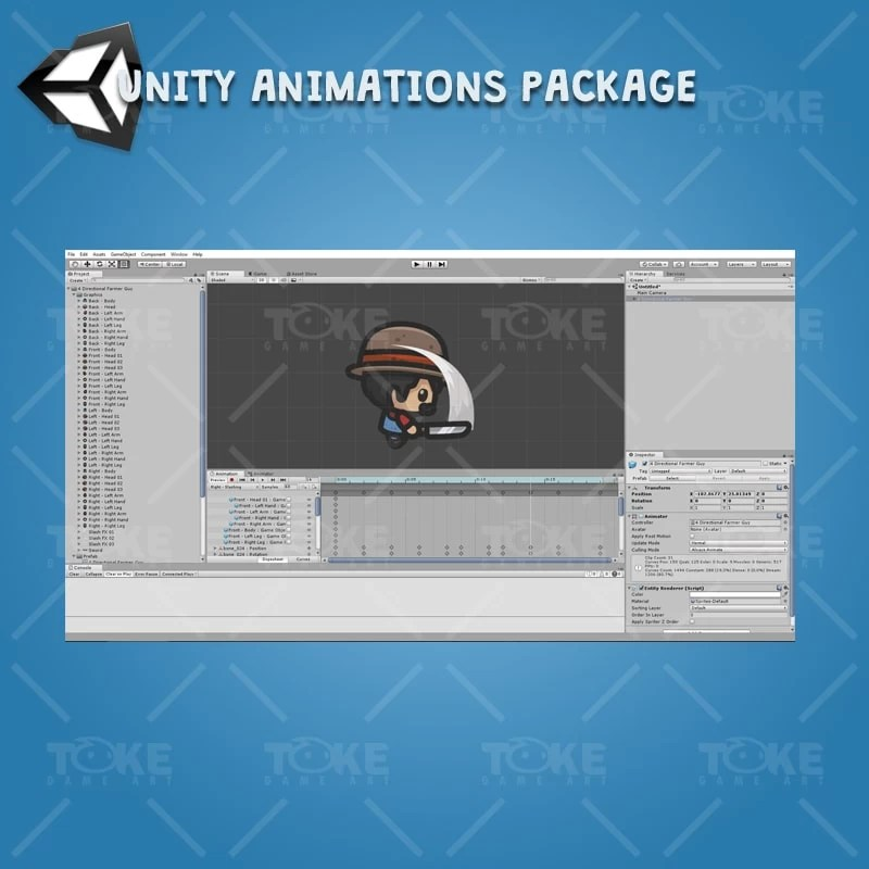 4 Directional Farmer Guy - Unity Character Animation Ready with Spriter2UnityDX Tool
