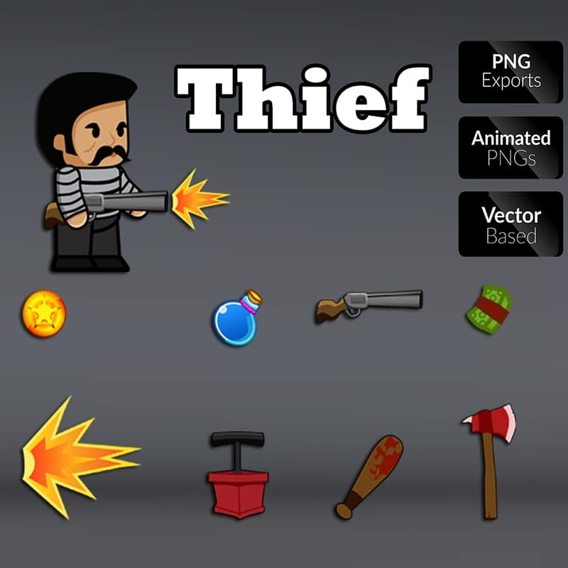 Thief 01 character sprite for side scrolling games. Perfect for enemy in your 2D game. TokeGameArt - Royalty Free Game Asset for Indie Game Developer.
