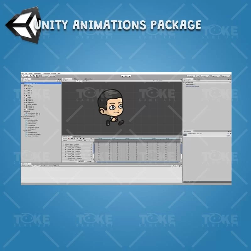 Adventurous Guy 01 - Unity Character Animation Ready with Spriter2UnityDX Tool