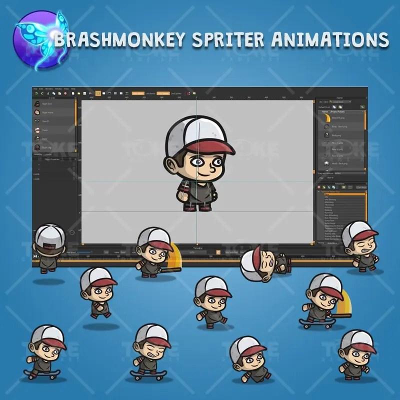 Teenager Skater Guy - Brashmonkey Spriter Character Animations