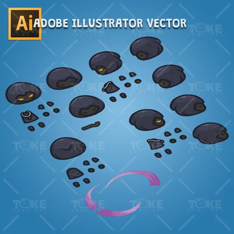 4 Directional Dark Witch - Adobe Illustrator Vector Art Based Character Body Parts