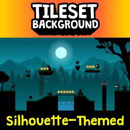 Silhouette Shadow Tileset and Background - 2D Game Tileset