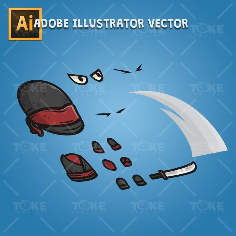 Black Ninja - Adobe Illustrator Vector Art Based Character Body Parts