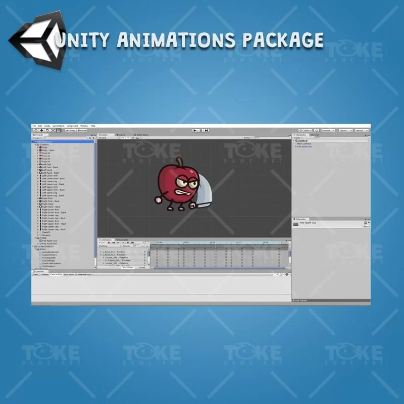 Red Apple Guy - Unity Character Animation Ready with Spriter2UnityDX Tool