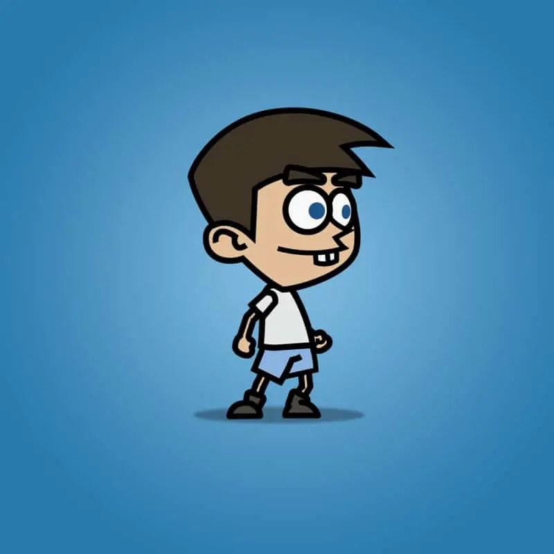 Cartoon Boy with Laser Gun - 2D Character Sprite