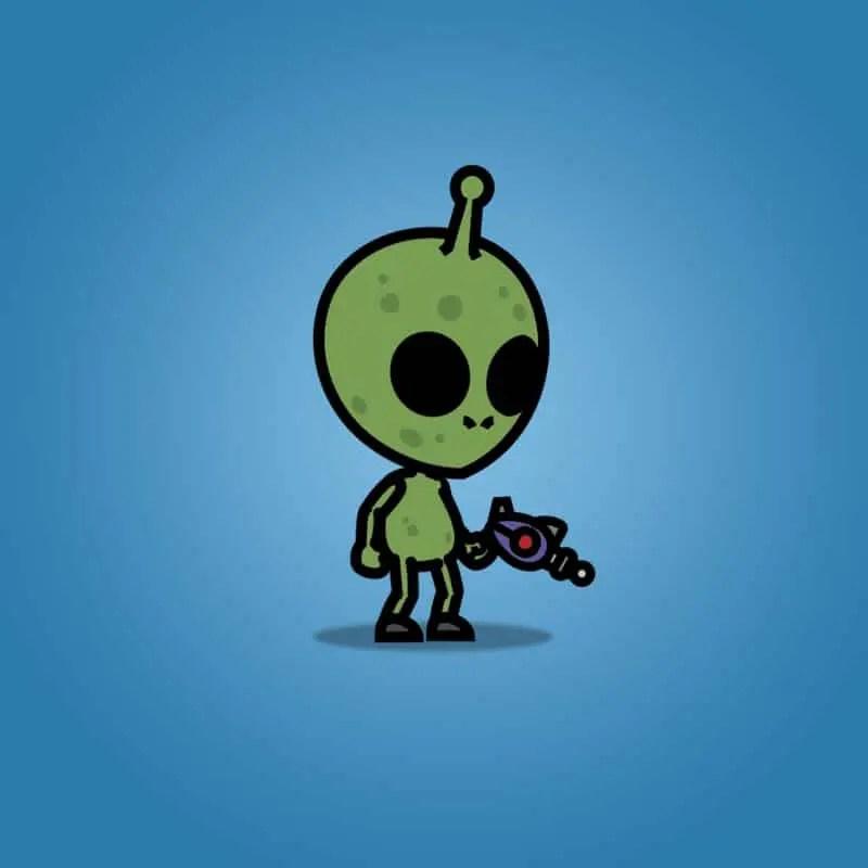 Cartoon Green Skinned Alien - 2D Character Sprite